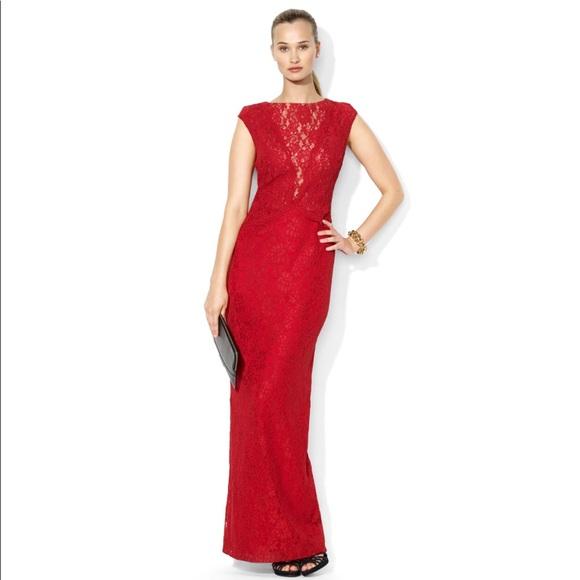 Ralph Lauren Dresses | Contrast Lace Peplum Gown Dress | Poshmark
